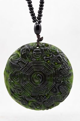 Natural-Dark-green-Hand-carved-Chinese-Jade-Pendant-Free