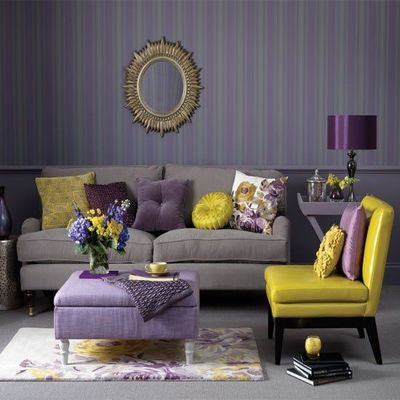 grey purple yellow living room