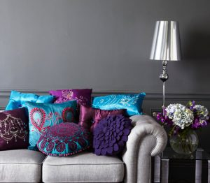 jewel toned cushions plain couch