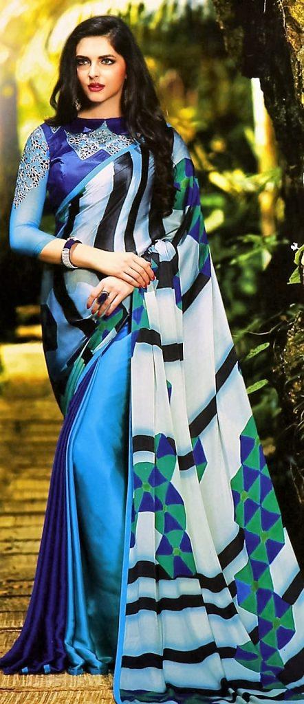 model blue sari