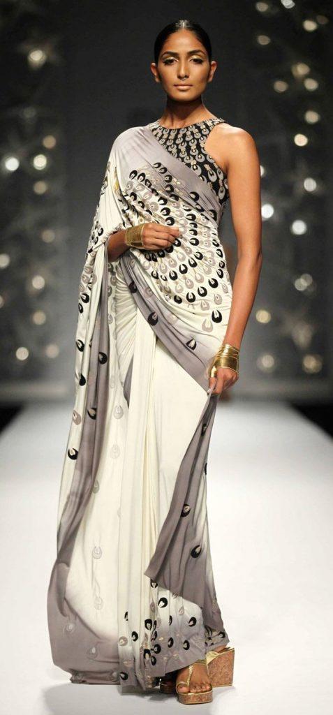 model white sari