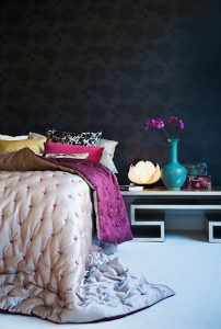 sapphire tufted accent wall bedroom