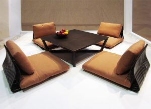 wooden seating set