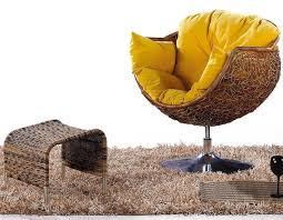 yellow cushion rattan chair
